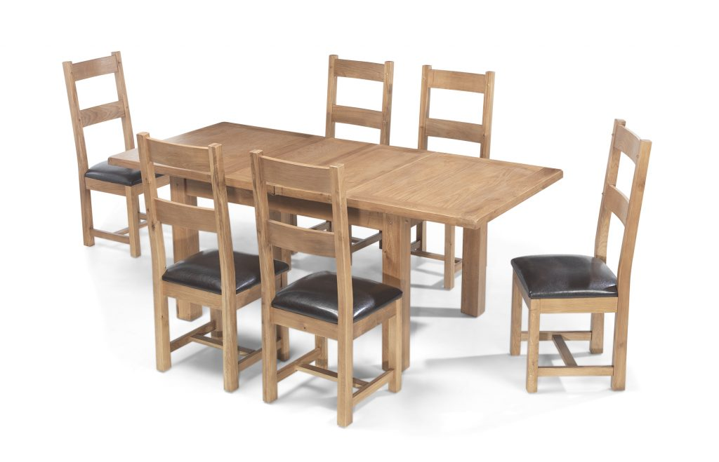 Aylesbury Solid Wood Rustic Oak Large Extending Dining Table With 6 Chairs