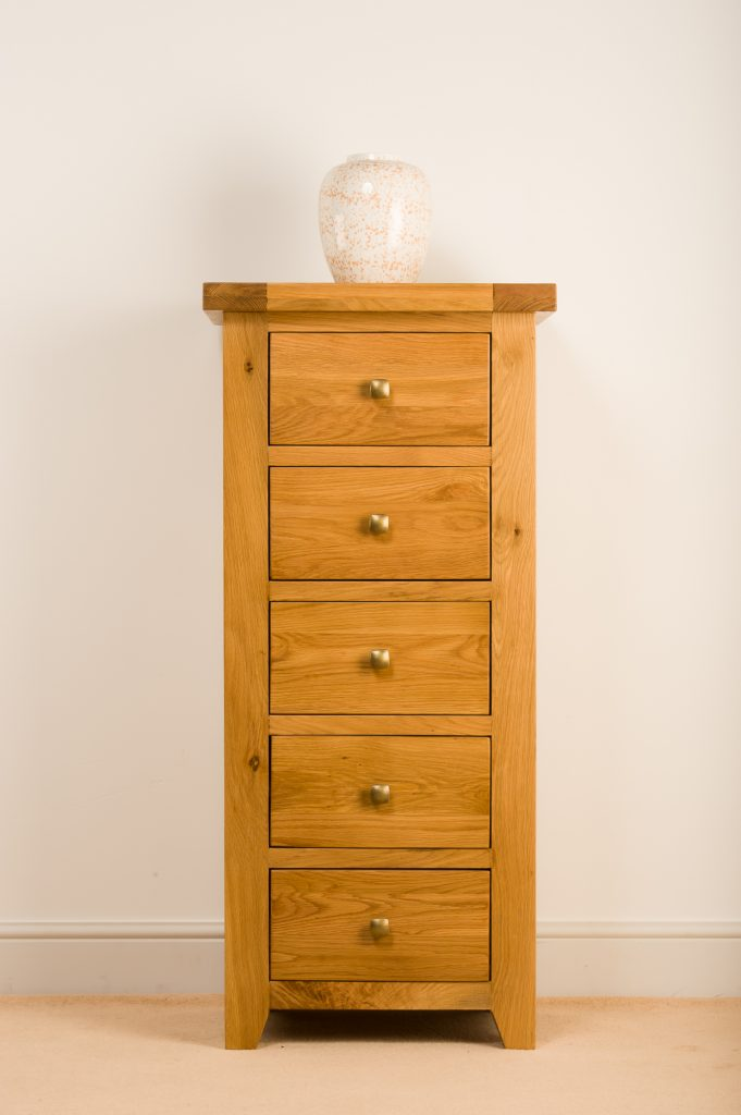 Devon Solid Wood Chunky Oak Tallboy Chest Of Drawers