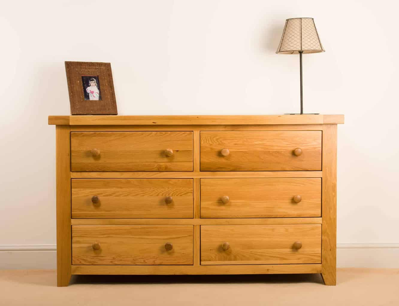 Devon Solid Wood Chunky Oak Wide 6 Drawer Chest Of Drawers Msl Furniture