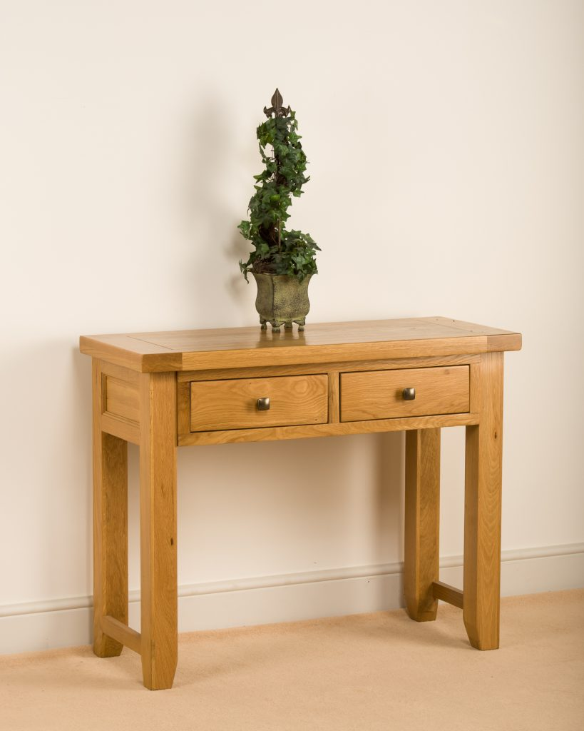 Devon Solid Wood Chunky Oak Large Telephone Lamp Hall Console Table Unit