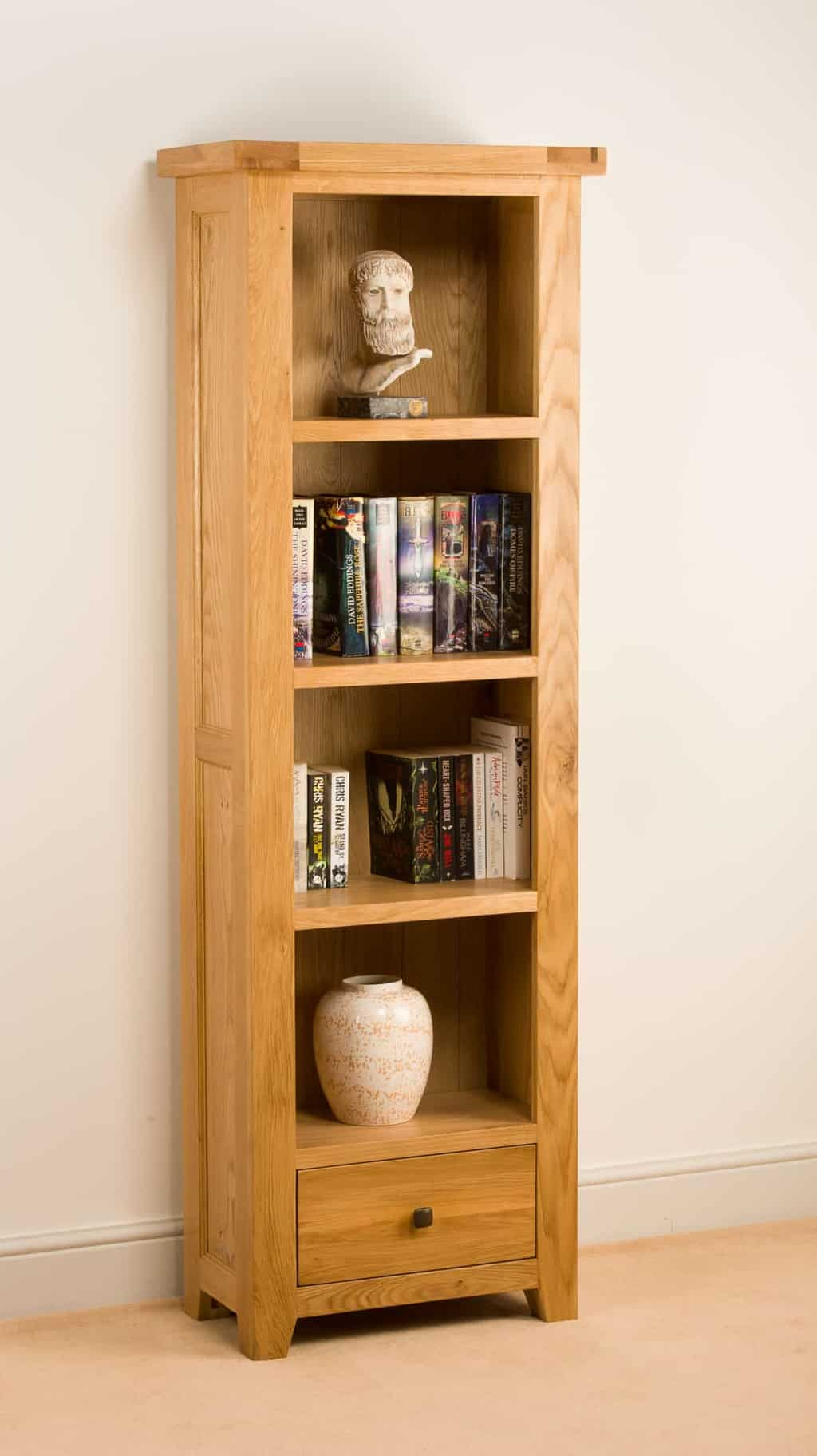 Devon Solid Wood Chunky Oak Slim Narrow Bookcase Display Unit