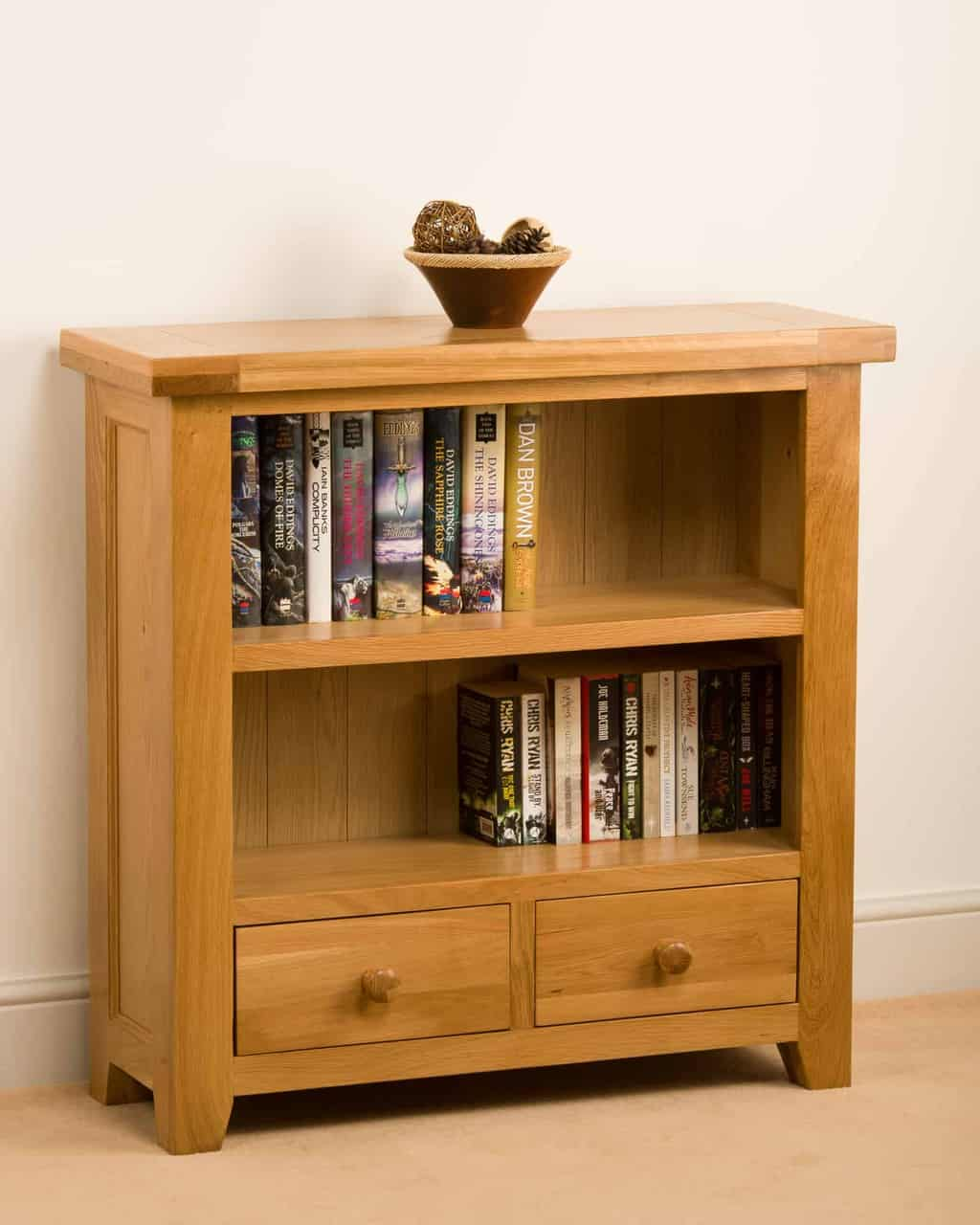 Devon Solid Wood Chunky Oak Small Low Bookcase Display Unit