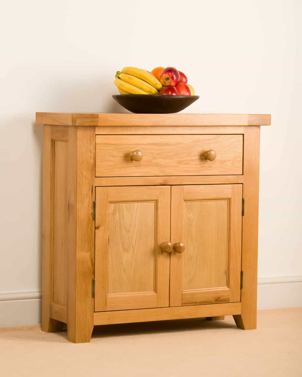 Devon Solid Wood Chunky Oak Compact Small Sideboard Cupboard Cabinet Msl Furniture