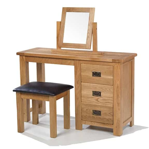 Aylesbury Solid Wood Rustic Oak Dressing Table Unit With Stool And Mirror