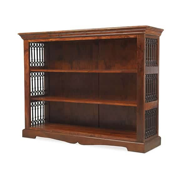 Madras Solid Sheesham Wood Low Wide Jali Bookcase