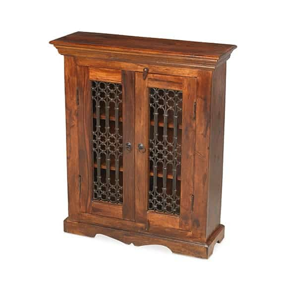 Madras Solid Jali Sheesham Wood Cd Dvd Storage Cupboard Cabinet Unit