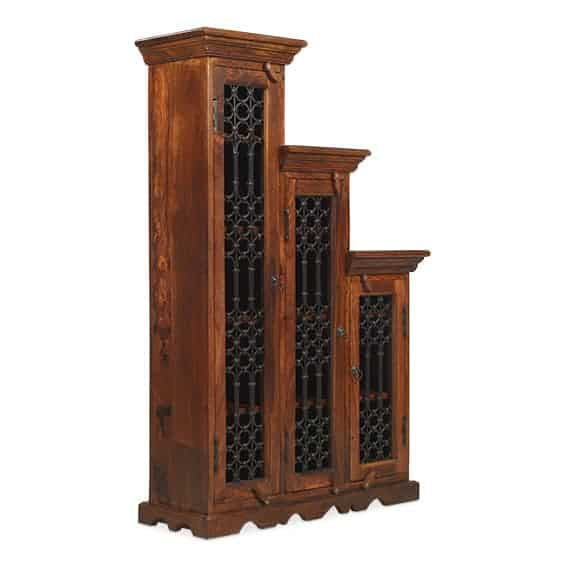 Madras Solid Jali Sheesham Wood Large Left Step Cd Storage Cupboard Cabinet Unit