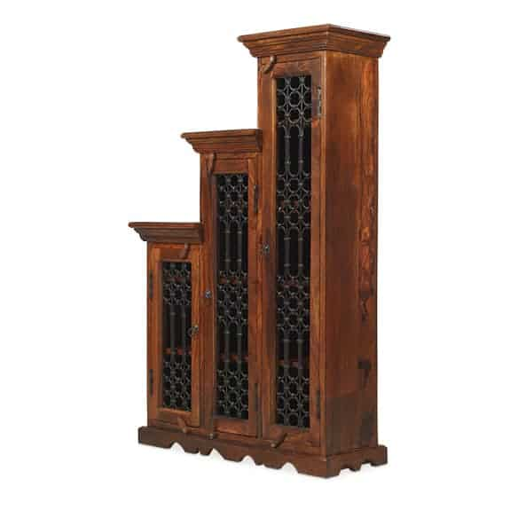 Madras Solid Jali Sheesham Wood Right Step Cd Storage Cupboard Cabinet Unit