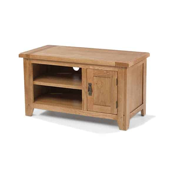Aylesbury Rustic Solid Oak Small  Tv Lcd  Cabinet Stand Unit