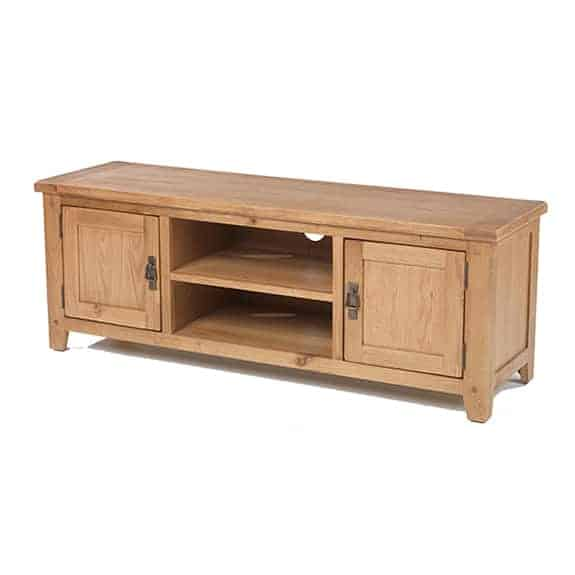 Aylesbury Rustic Solid Oak Large  Tv Lcd  Cabinet Stand Unit