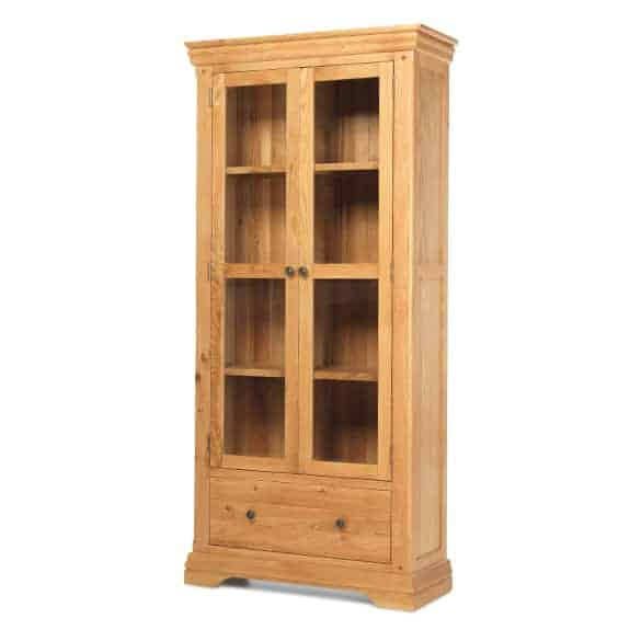 French Rustic Oak Solid Wood Large Display Cabinet Cupboard