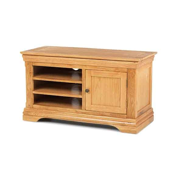 French Rustic Oak Solid Wood Medium  Tv Lcd  Cabinet Stand Unit