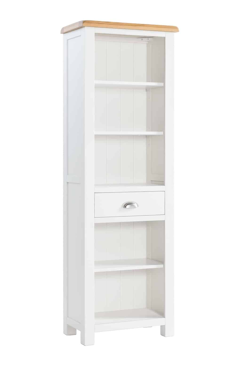 Wardley Stone Grey Painted Chunky Oak Slim Narrow Open Bookcase Display Unit