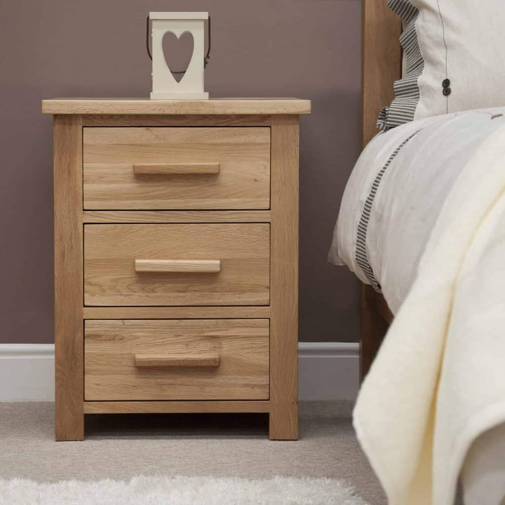 Homestyle Gb Opus Contemporary Oak 3 Drawer Bedside Cabinet Stand