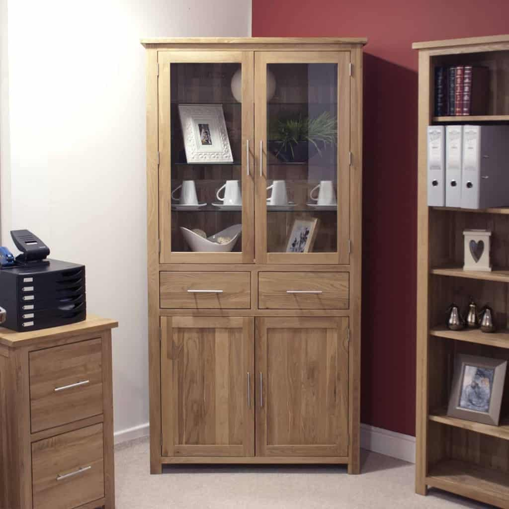 Opus Contemporary Oak Large Glass Display Cabinet Cupboard