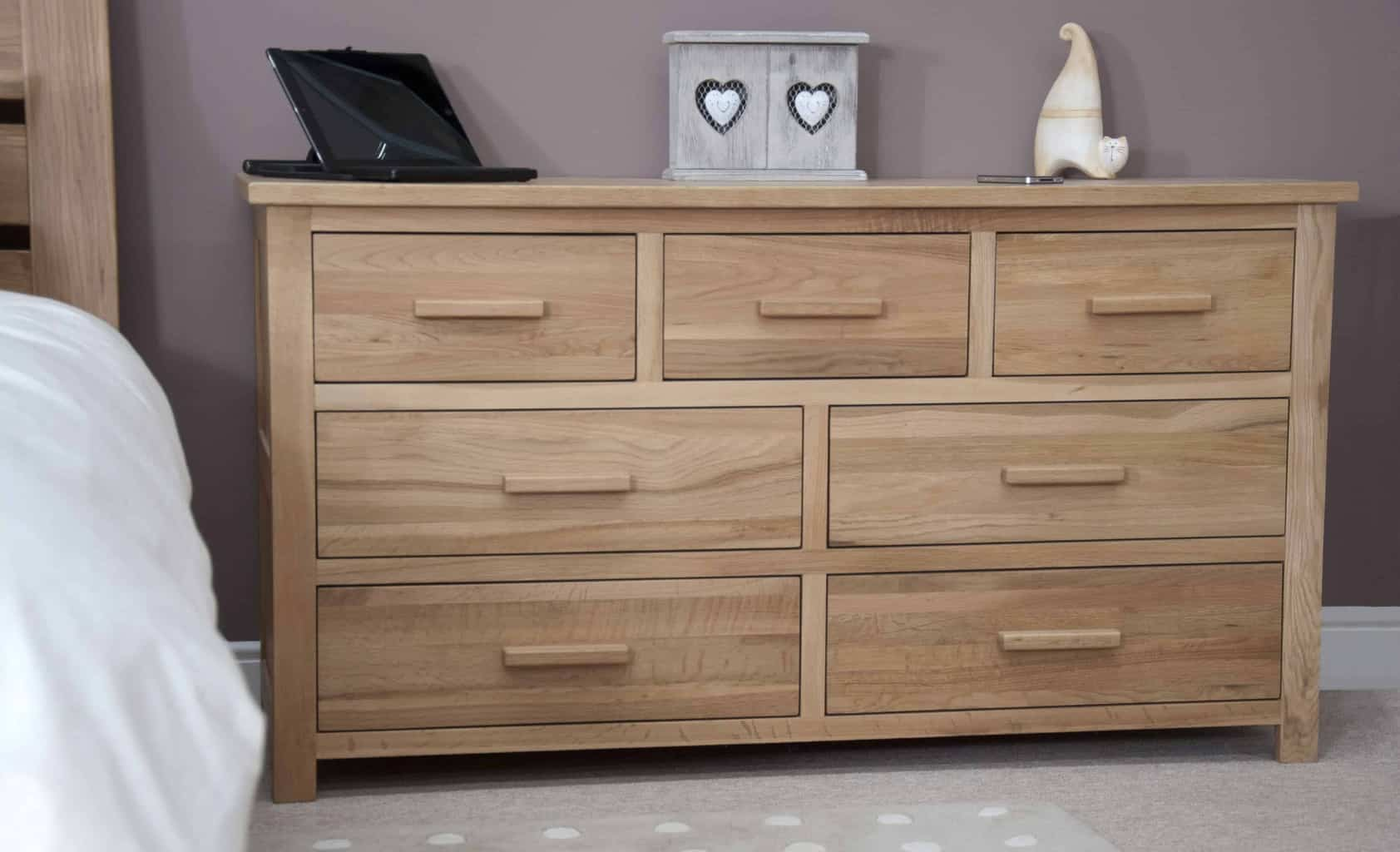 Opus contemporary oak 3 over 4 wide chest of drawers msl - Contemporary bedroom chest of drawers ...