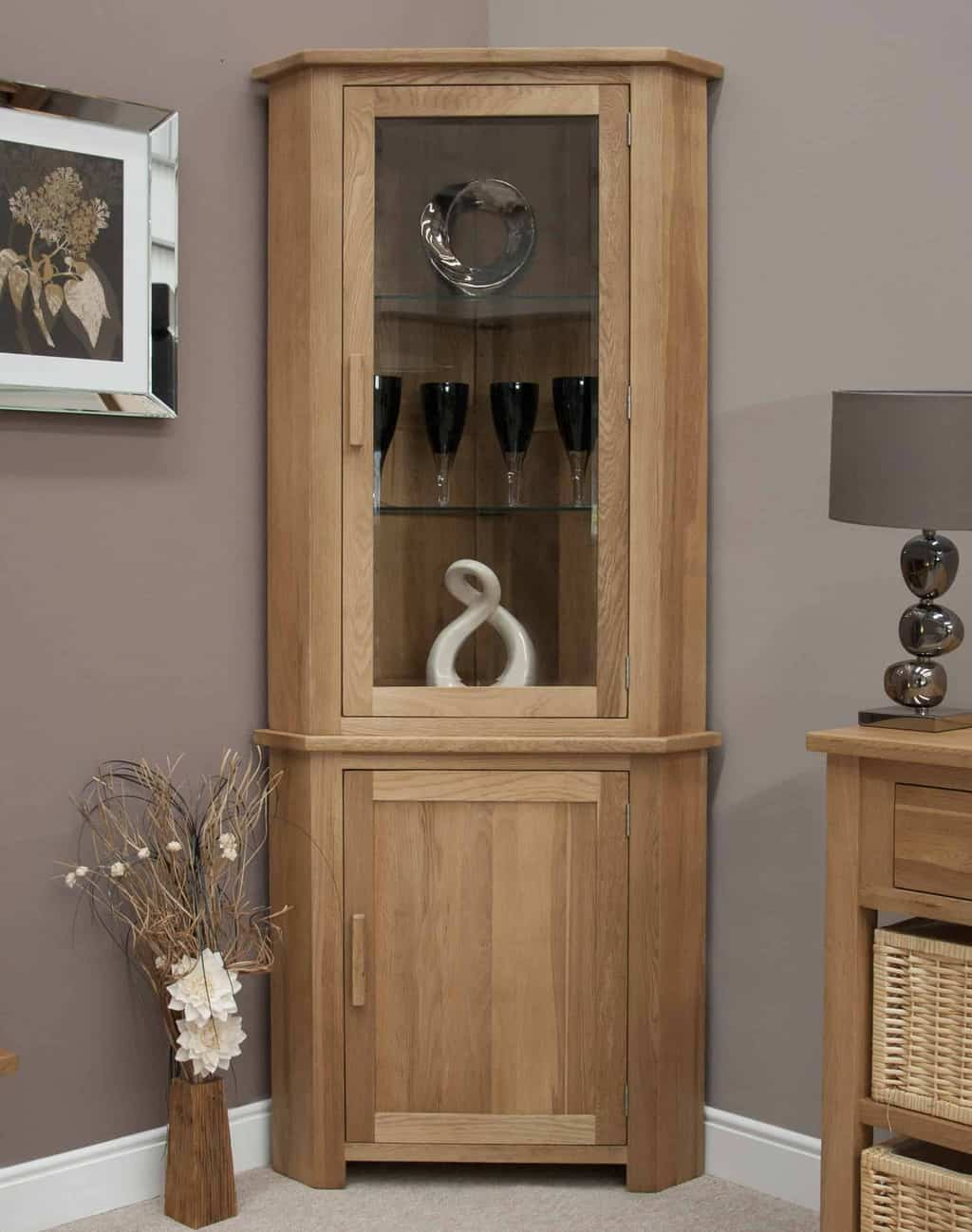 Opus Contemporary Oak Large Corner Glass Display Cabinet