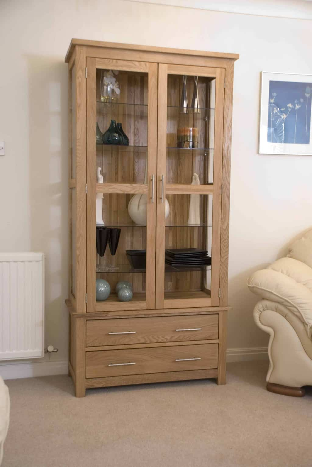 oak display cabinets for living room opus contemporary oak large glass display cabinet msl 26908
