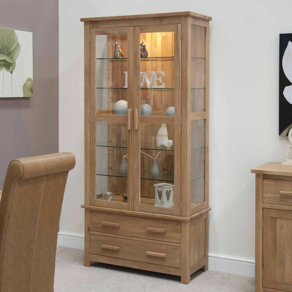 Opus Contemporary Oak Large Glass Display Cabinet Msl
