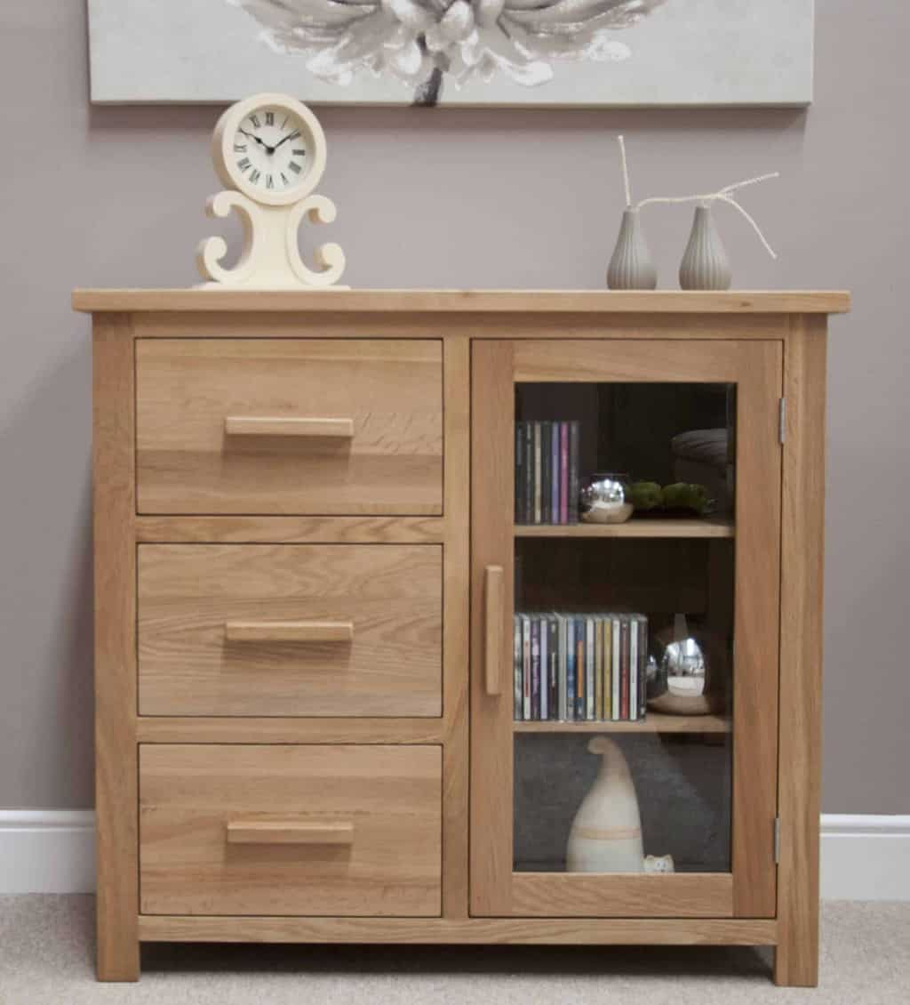 Homestyle Gb Opus Contemporary Oak Small Glass Sideboard