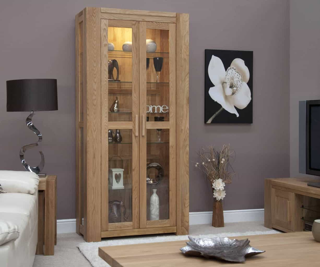 Living Room Furniture Cabinets: Trend Solid Chunky Oak 2 Door Glass Display Cabinet