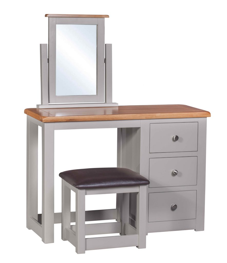 Homestyle Gb Diamond Grey Painted Oak Dressing Table With Stool And Mirror