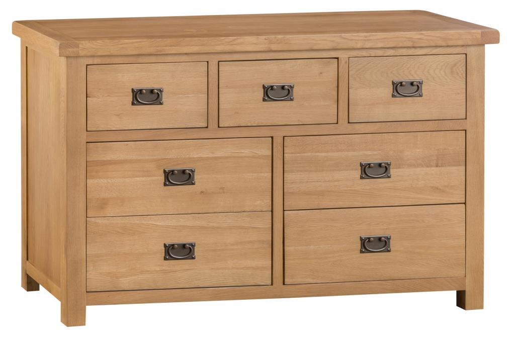 Banbury Solid Chunky Wood Rustic Oak 3 Over 4 Wide Chest Of Drawers Unit