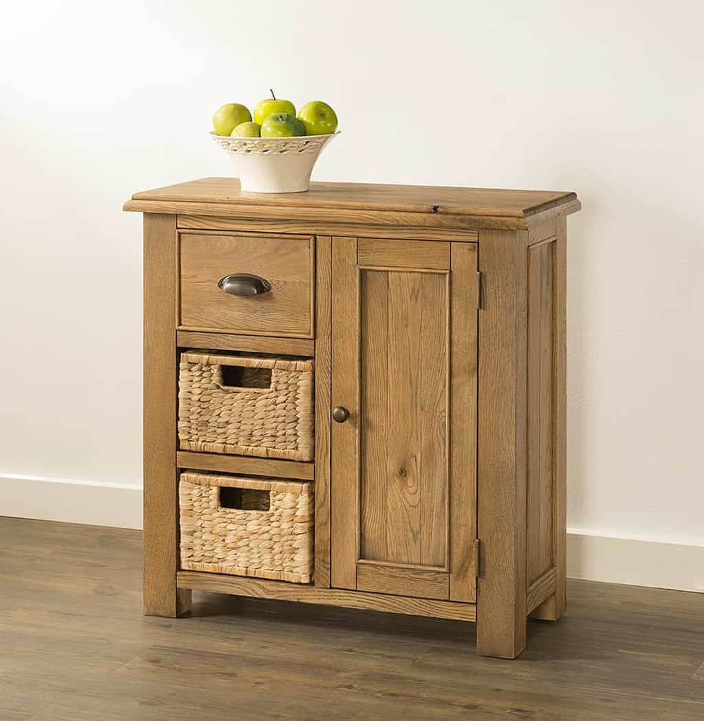 more photos 350a4 a0819 Hartfield Chunky Wood Rustic Oak Small Compact Sideboard With Baskets