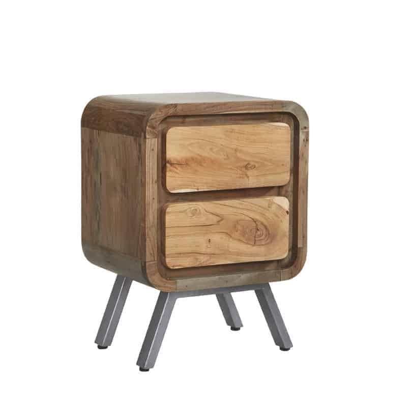 Oslo Industrial Reclaimed Metal And Solid Wood Lamp Side Table With Drawers