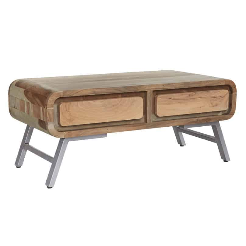 Oslo Industrial Reclaimed Metal And Solid Wood Large Coffee Table