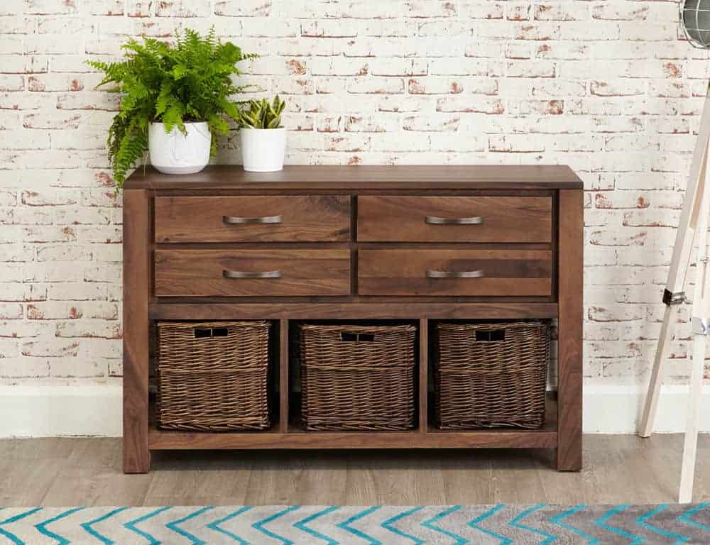 Baumhaus Solid Wood Walnut Telephone Hall Console Table