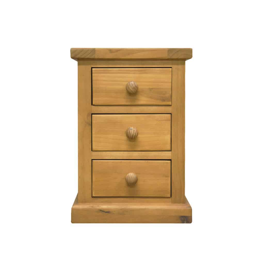 Henley Chunky Pine 3 Drawer Small Bedside Cabinet Table Stand Unit