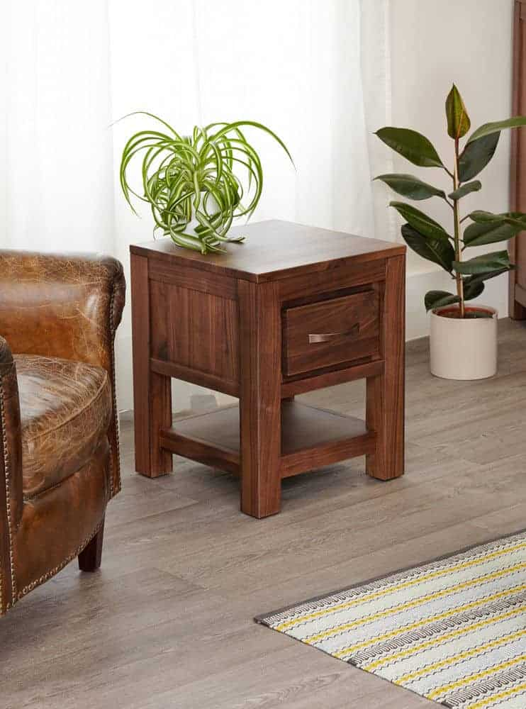 Baumhaus Solid Wood Walnut One Drawer Lamp Console Table Unit