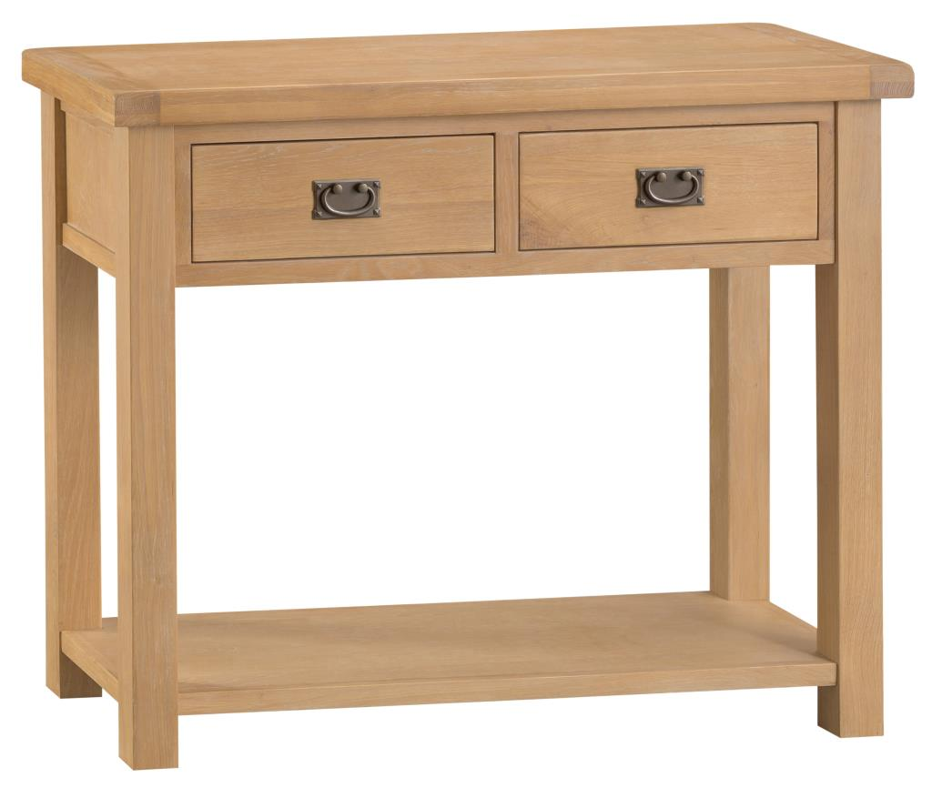 Banbury Solid Chunky Wood Rustic Oak Large Console Hall Telephone Table Stand Unit