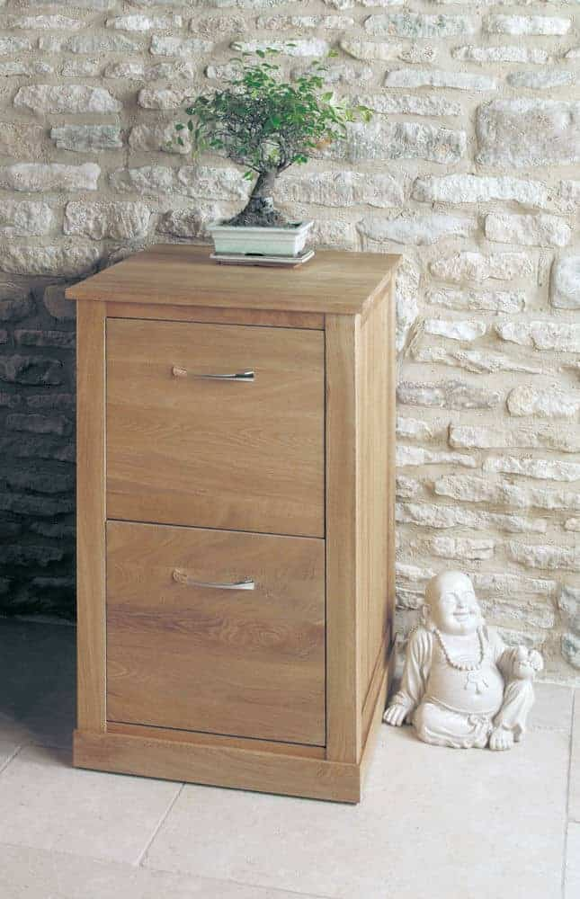 Baumhaus Mobel  Solid  Oak Two Drawer Filing Cupboard Cabinet