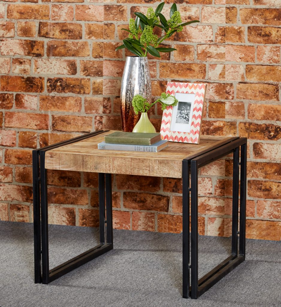 Malmo Industrial Reclaimed Metal And Solid Wood Square Side Lamp Table