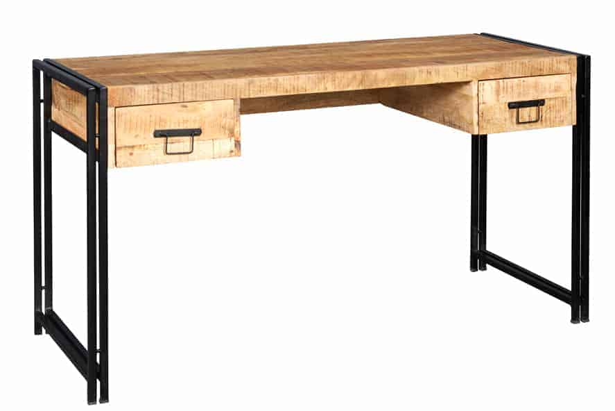 Malmo Industrial Reclaimed Metal And Solid Wood Home Office Desk