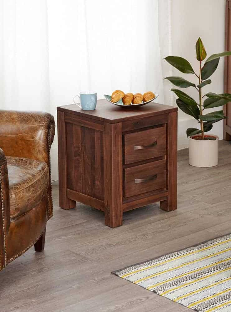 Baumhaus Solid Wood Walnut Two Drawer Lamp Console Table Unit