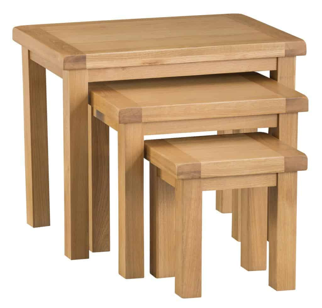 Banbury Solid Chunky Wood Rustic Oak Nest Of 3 Tables