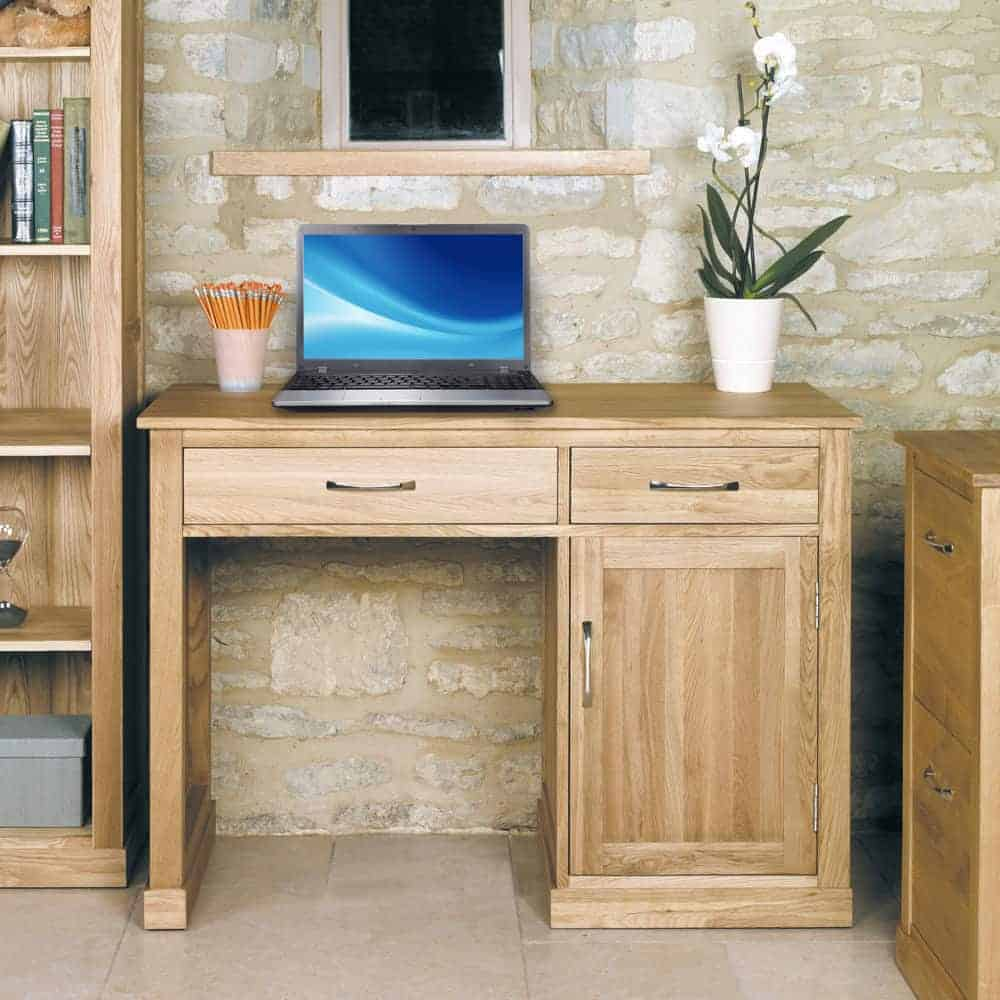 Baumhaus Mobel  Solid  Oak Single Pedestal Home Office Computer Desk