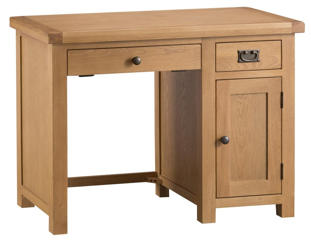 Banbury Solid Chunky Wood Rustic Oak Single Pedestal Home Office Computer Desk
