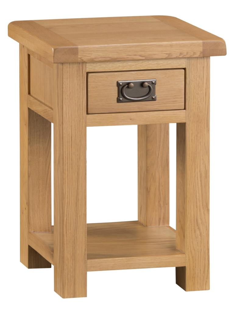 Banbury Solid Chunky Wood Rustic Oak Small Lamp Hall Telephone Table Stand Unit