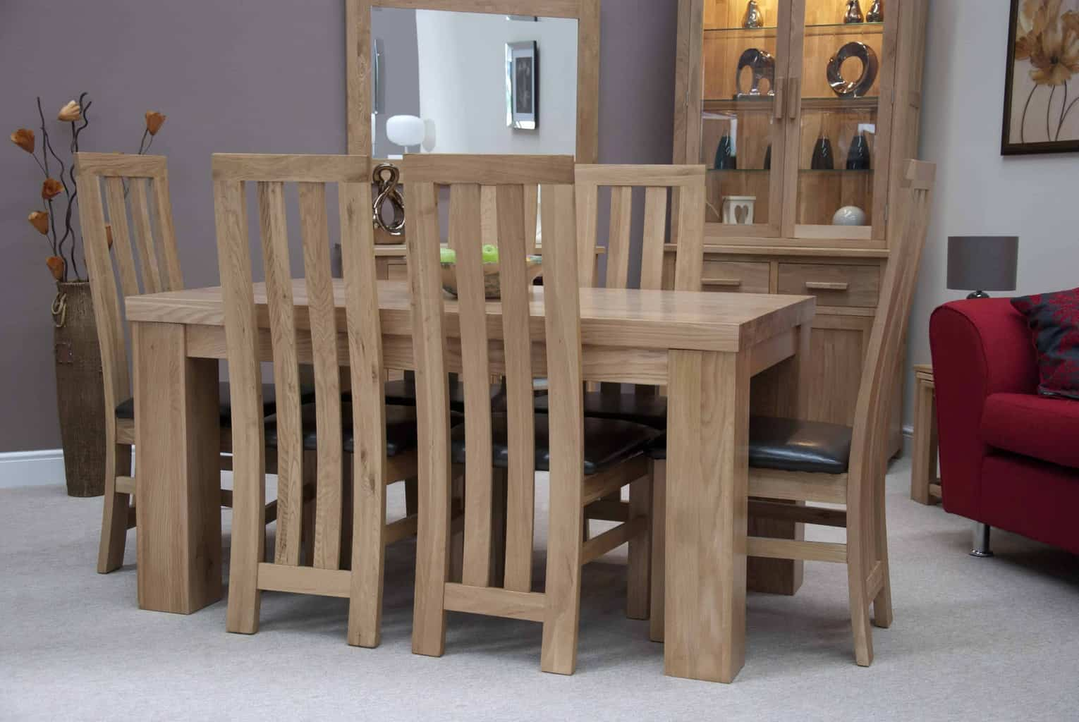 Homestyle Gb Chunky Oak Medium Fixed Dining Table With 6 Chairs Msl Furniture