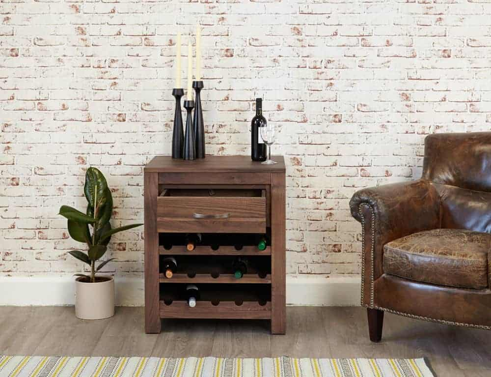 Baumhaus Solid Wood Walnut Wine Rack Lamp Console Table Unit