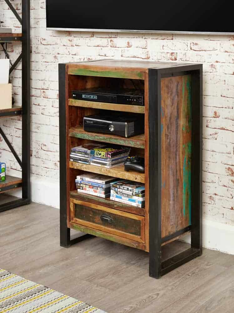 Baumhaus Urban Chic Industrial Reclaimed Wood Small Low Open Bookcase Cd Dvd Cabinet