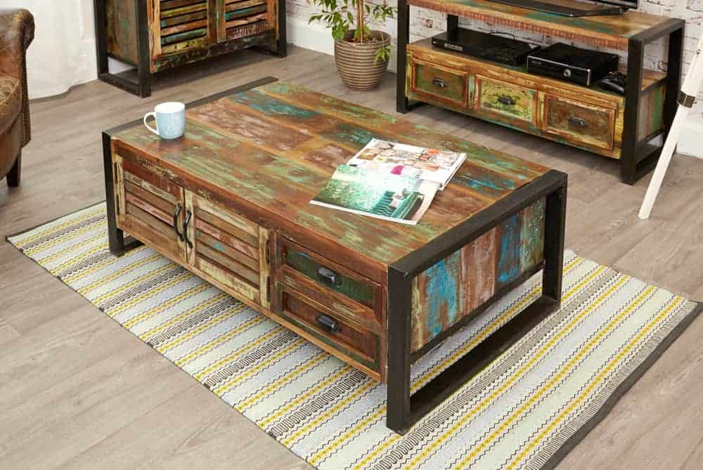 Baumhaus Urban Chic Industrial Reclaimed Wood Large Coffee Table