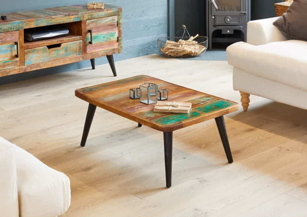 Baumhaus Industrial Reclaimed Solid Wood Small Coffee Table