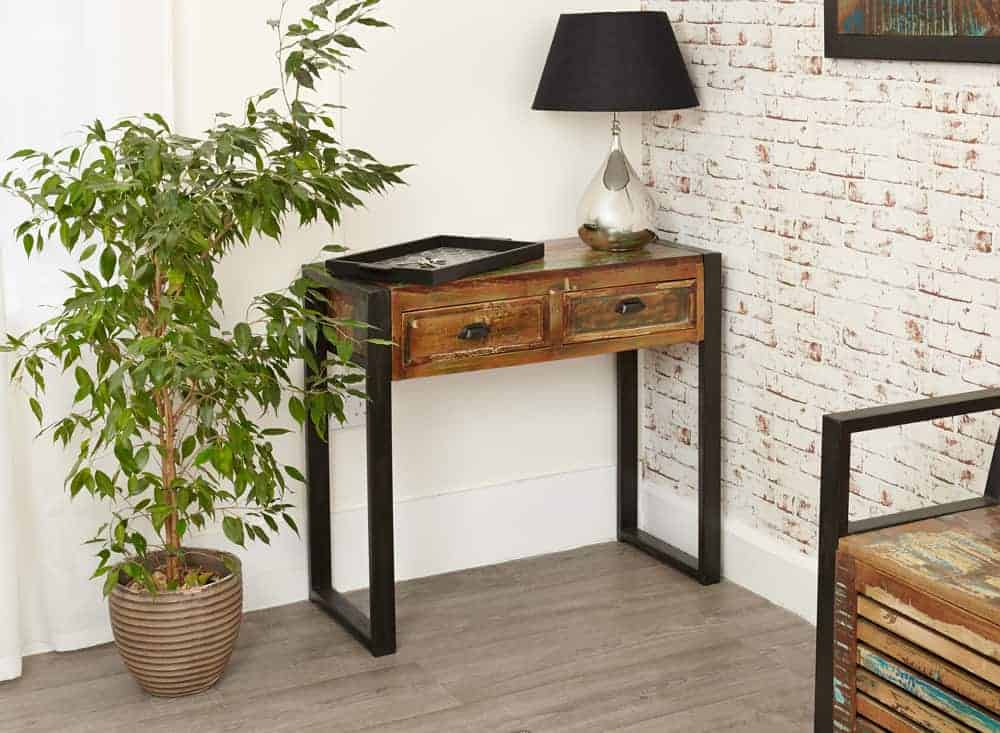 Baumhaus Urban Chic Industrial Reclaimed Wood Telephone Lamp Hall Console Table