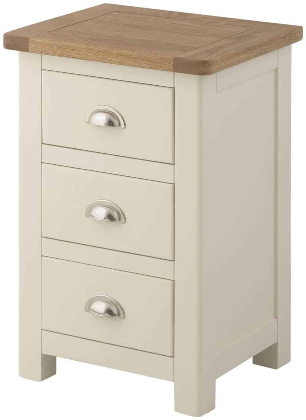 Cream Bedside Tables: Cream Colour Painted Oak 3 Drawer Bedside Cabinet Table