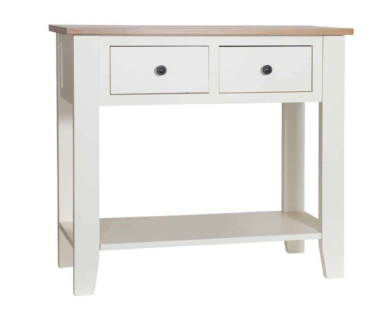 best service a0f94 65e7d Cream Painted Solid Oak Telephone Lamp Hall Console Table Unit With 2  Drawers